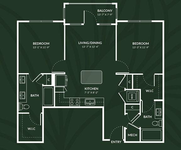 B2.2  2 BED 2 BATH  ABERDEEN Floor Plan at Alta Croft, Charlotte, 28269