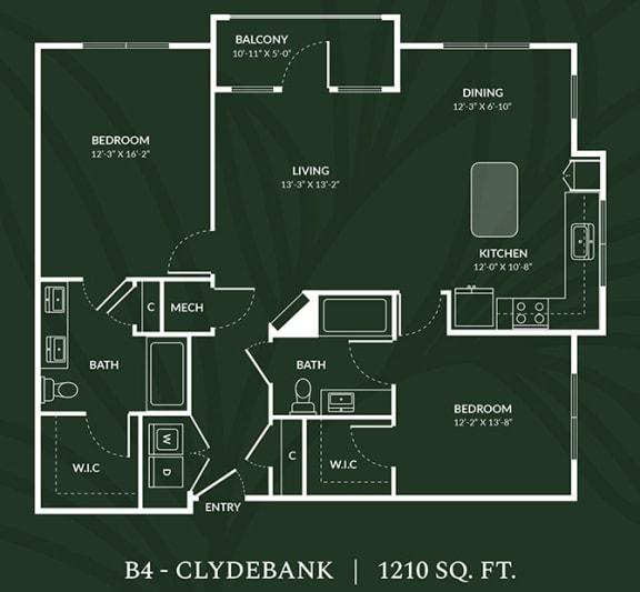 B4 2 BED 2 BATH CLYDEBANK Floor Plan at Alta Croft, North Carolina, 28269