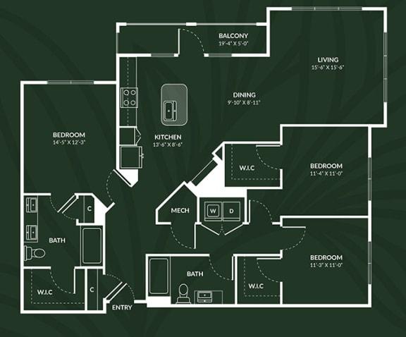 C1a 3 BED 2 BATH ACCESS GLASGOW Floor Plan at Alta Croft, Charlotte