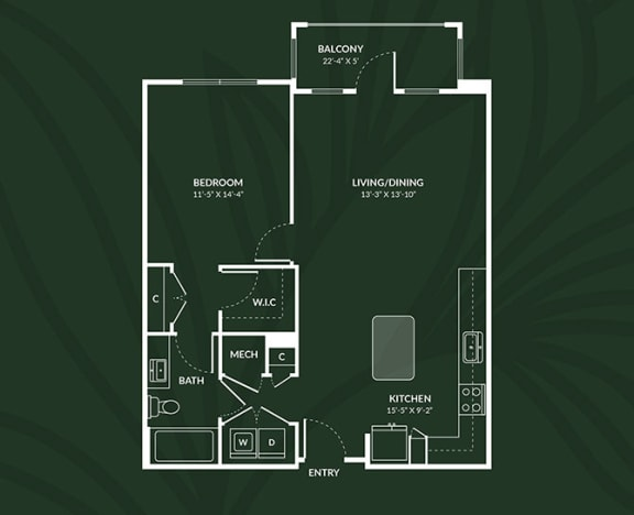 A4.2  1 BED 1 BATH LIVINGSTON Floor Plan at Alta Croft, Charlotte, 28269