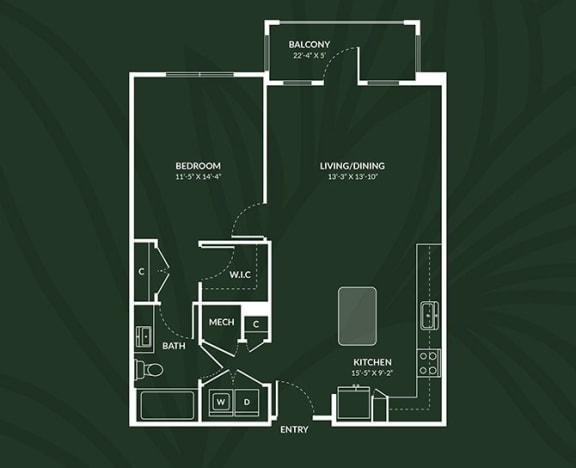 A4.2  1 BED 1 BATH LIVINGSTON Floor Plan at Alta Croft, Charlotte, 28269