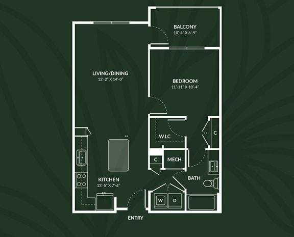 A1a  1 BED 1 BATH ACCESS PAISLEY Floor Plan at Alta Croft, Charlotte, NC