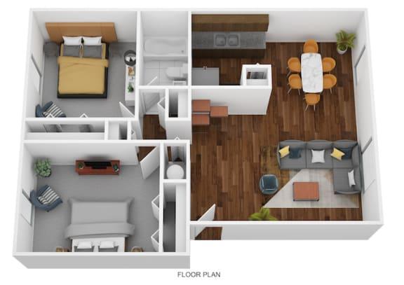 2 Bed Garden - South Floor Plan at Coldwater Flats, Evansville, IN