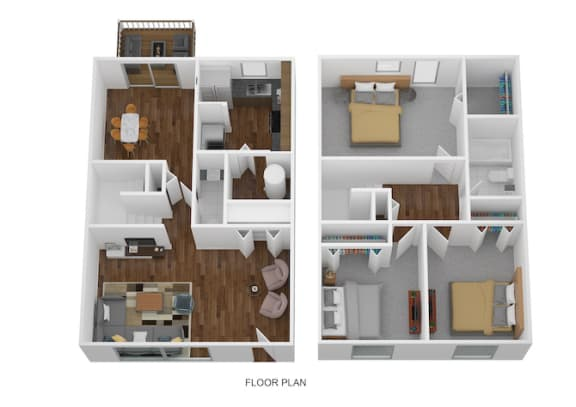 3 Bed Townhome - North Floor Plan at Coldwater Flats, Evansville, Indiana