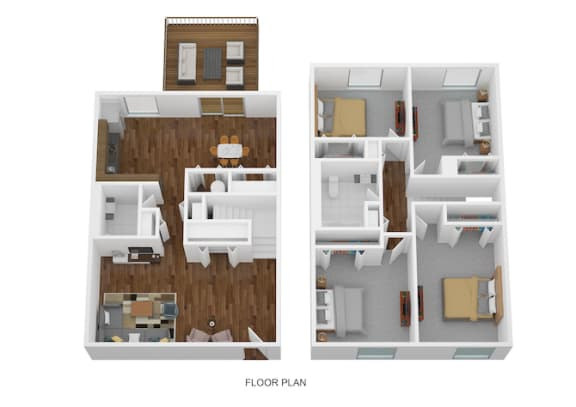 4 Bed Townhome - North Floor Plan at Coldwater Flats, Evansville