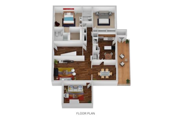 Floor Plan  Blair I & II Floor Plan at Indian Creek Apartments, Cincinnati