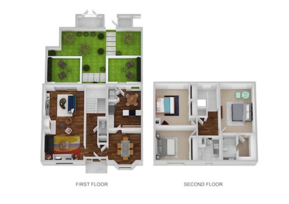 Floor Plan  Carriage House Floor Plan at Indian Creek Apartments, Ohio
