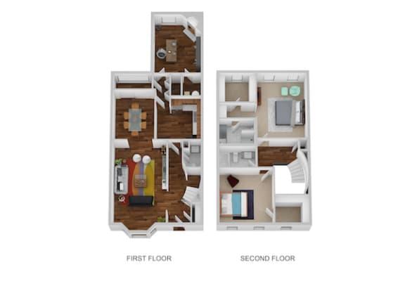 Floor Plan  Davenport Floor Plan at Indian Creek Apartments, Ohio, 45236
