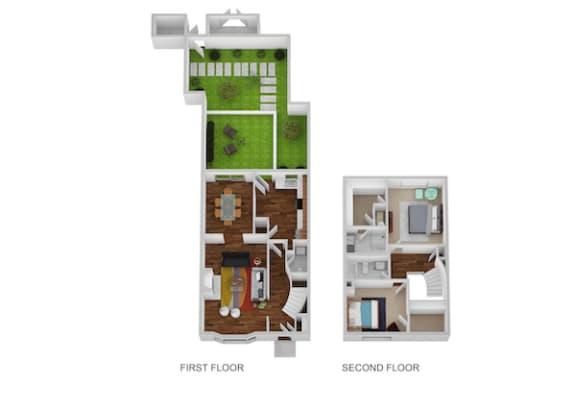 Floor Plan  Derby Floor Plan at Indian Creek Apartments, Cincinnati, OH, 45236