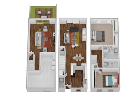 Floor Plan  Eaton I & II Floor Plan at Indian Creek Apartments, Cincinnati, OH