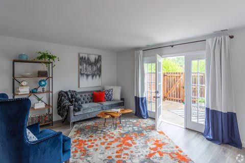 Living Room Attached Balcony at Galbraith Pointe Apartments and Townhomes*, Ohio