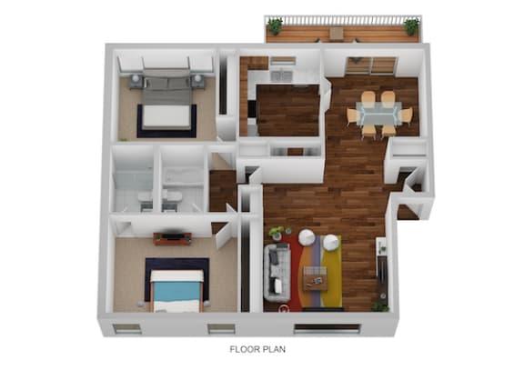 Floor Plan  James Floor Plan at Indian Creek Apartments, Ohio