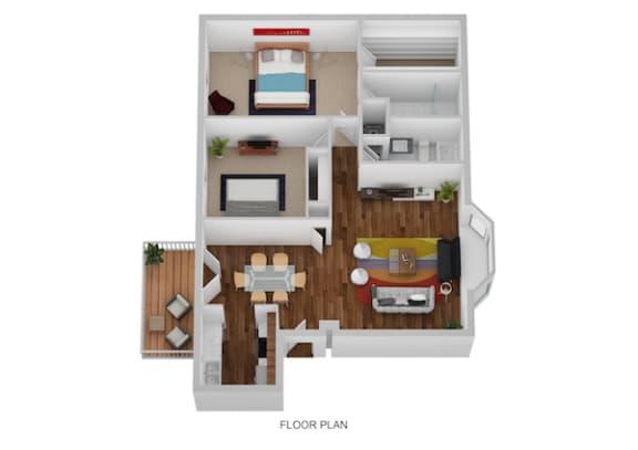 Floor Plan  Kirk Floor Plan at Indian Creek Apartments, Ohio, 45236
