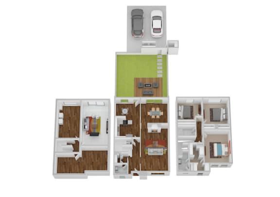 Floor Plan  Lafayette I & II Floor Plan at Indian Creek Apartments, Cincinnati, OH, 45236