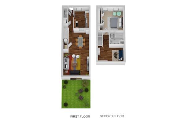 Floor Plan  Nantucket Floor Plan at Indian Creek Apartments, Cincinnati, 45236