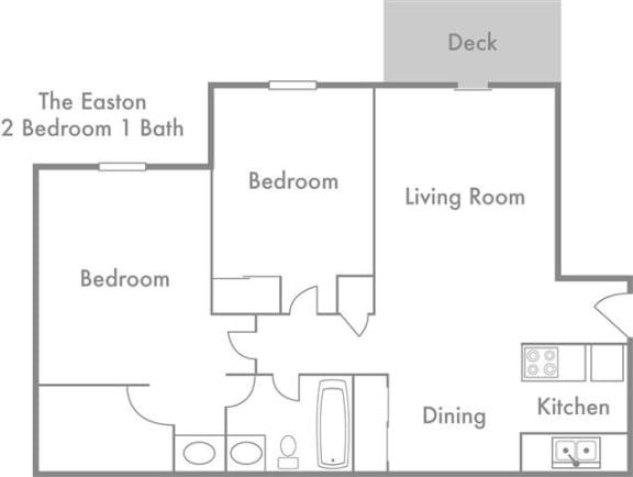 Easton Two Bedroom One Bath Floor Plan at Fox Run, Dayton, OH