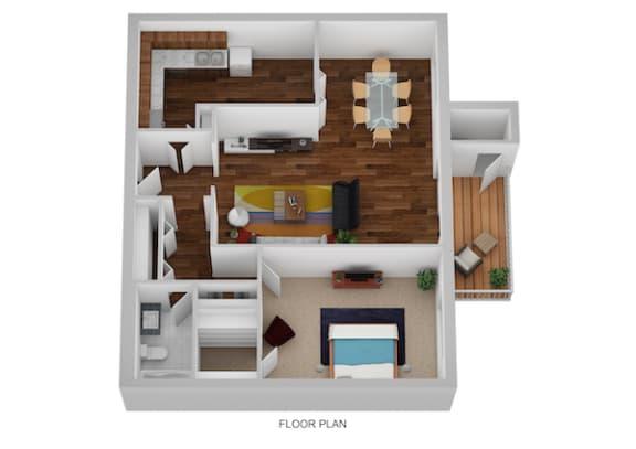 Floor Plan  Oxford Floor Plan at Indian Creek Apartments, Cincinnati, Ohio