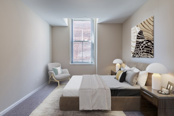 Bedroom With Expansive Windows at Renaissance at the Power Building, Ohio