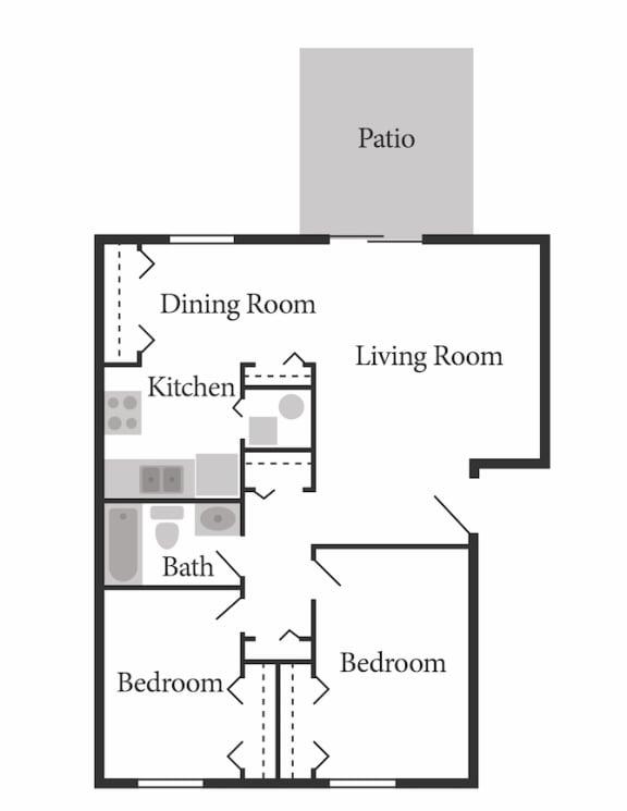 2 Bed Garden - North Floor Plan at Coldwater Flats, Evansville, IN, 47714