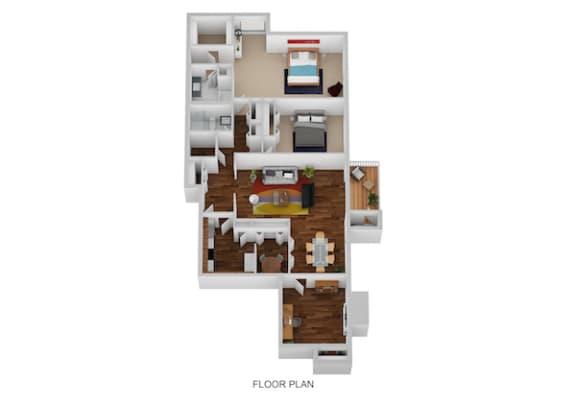 Floor Plan  Salem Floor Plan at Indian Creek Apartments, Ohio