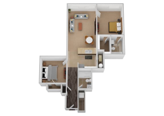 The Galileo Two Bed Two Bath Floor Plan at Renaissance at the Power Building, Ohio