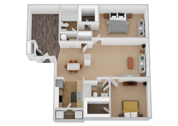 The Portifono Two Bed Two Bath Floor Plan at Renaissance at the Power Building, Cincinnati, OH