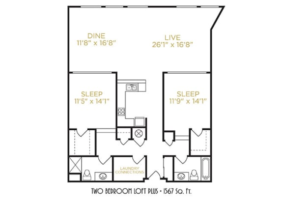 Two Bedroom Loft Plus Floor Plan at The Lofts at Shillito Place, Ohio, 45202