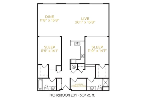 Two Bedroom Loft Floor Plan at The Lofts at Shillito Place, Ohio