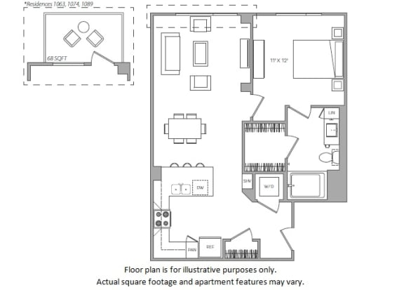 Floor Plan  1 Bed E floor plan at Cannery Park by Windsor, San Jose, CA