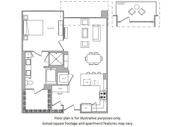 Floor Plan  1 Bed F floor plan at Cannery Park by Windsor, CA, 95112
