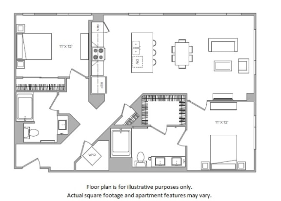 Floor Plan  1 Bed I floor plan at Cannery Park by Windsor, 415 E Taylor St, 95112