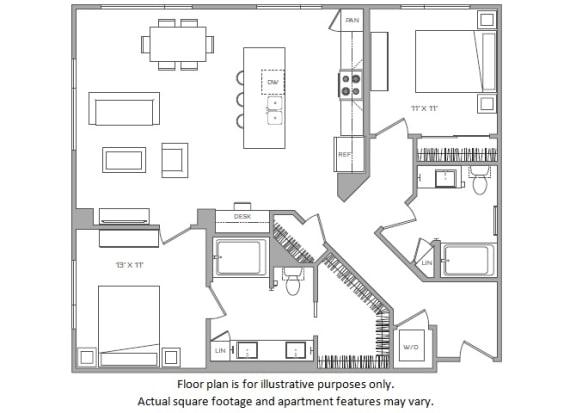 Floor Plan  1 Bed J Floor plan at Cannery Park by Windsor, San Jose, CA