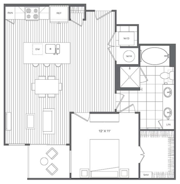 1K Floor Plan at Platt Park by Windsor, Denver, CO, 80210