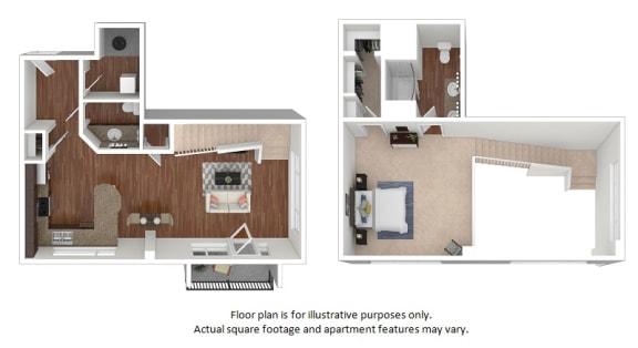 Floor Plan  1x1-5_43A_1007sf floor plan at The District, Denver, CO