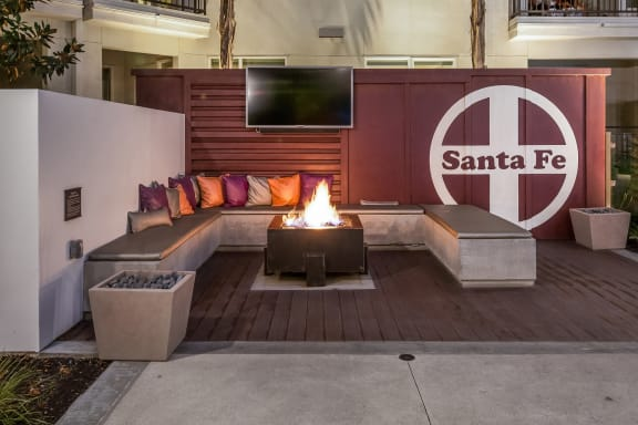 Clubhouse With Firepit at Malden Station by Windsor, 250 W Santa Fe Ave, CA