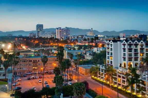 Breathtaking Views of Santa Monica Skyline at Sea Castle, California, 90401