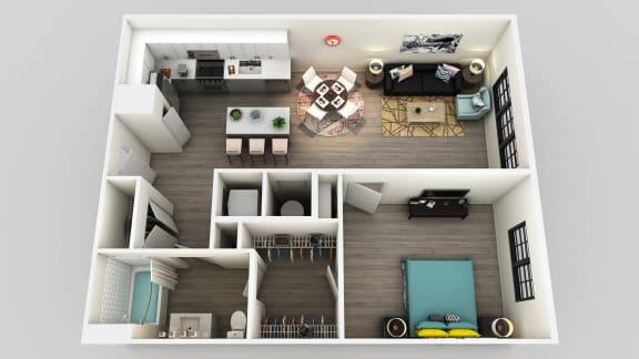 Floor Plan  One bedroom One bathroom Floor Plan at Edison on the Charles by Windsor, Waltham, 02453