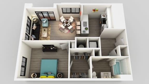Floor Plan  1 Bedroom 1 Bathroom Floor Plan at Edison on the Charles by Windsor, Waltham, MA, 02453