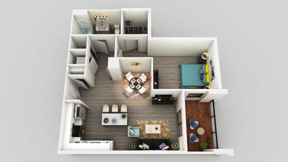 Floor Plan  1 Bedroom 1 Bathroom Floor Plan at Edison on the Charles by Windsor, Waltham, MA