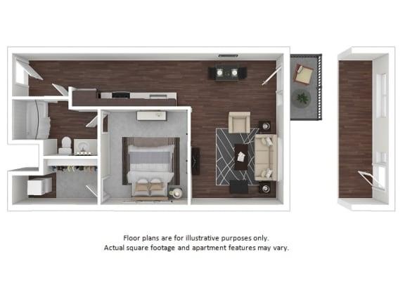 Floor Plan  A1 3D disclaimer floor plan at The Casey, CO, 80202