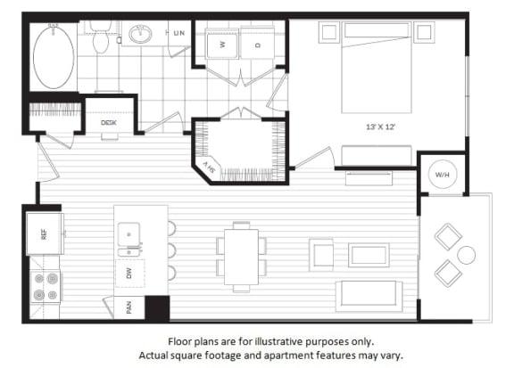 Floor Plan  A1 floor plan at Windsor Oak Hill, Austin, TX