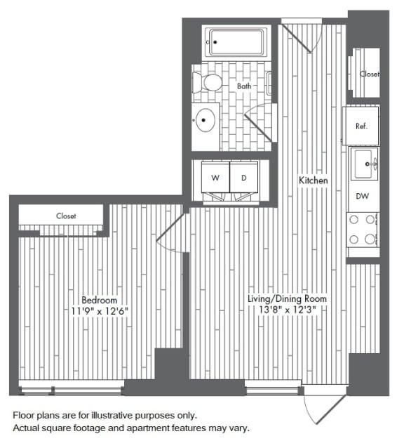 Floor Plan  A1 1 Bed 1 Bath Floor Plan at Waterside Place by Windsor, Boston, 02210