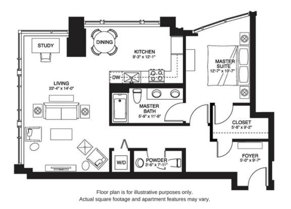 Floor Plan  A10 South floor plan at The Bravern, Bellevue, WA