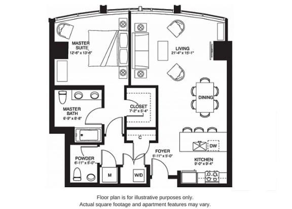 Floor Plan  A11 South(1) floor plan at The Bravern, WA, 98004
