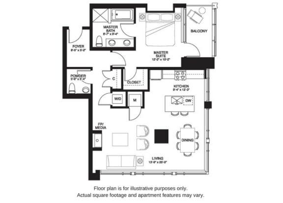 Floor Plan  A16 South floor plan at The Bravern, 688 110th Ave NE, 98004