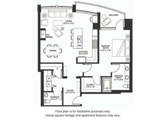 Floor Plan  A17 at The Bravern, Bellevue, Washington