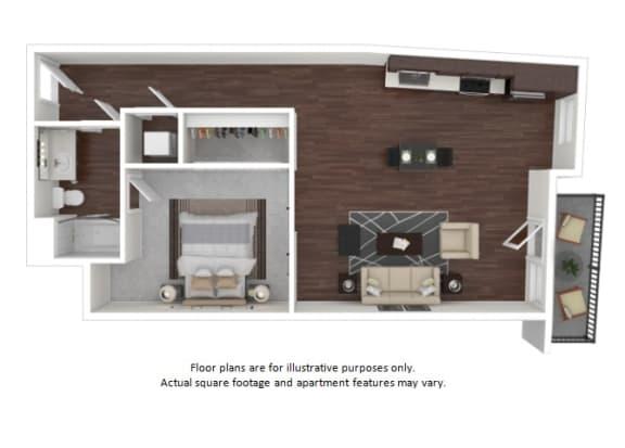Floor Plan  A2 1 3D disclaimer floor plan at The Casey, Denver, Colorado