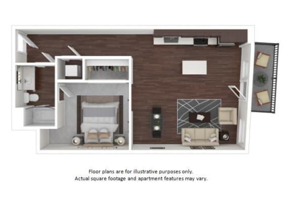 Floor Plan  A2 2 3D disclaimer at The Casey, Colorado, 80202