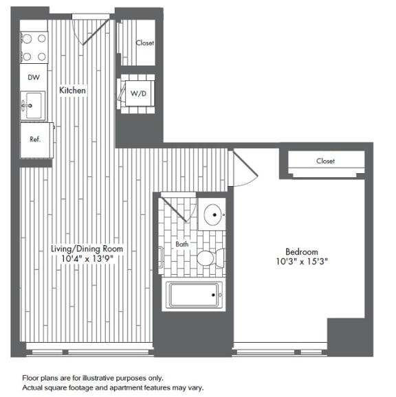 Floor Plan  A2 1 Bed 1 Bath Floor Plan at Waterside Place by Windsor, Massachusetts, 02210