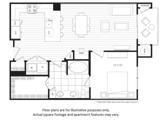 Floor Plan  A4 floor plan at Windsor Oak Hill, Texas, 78735
